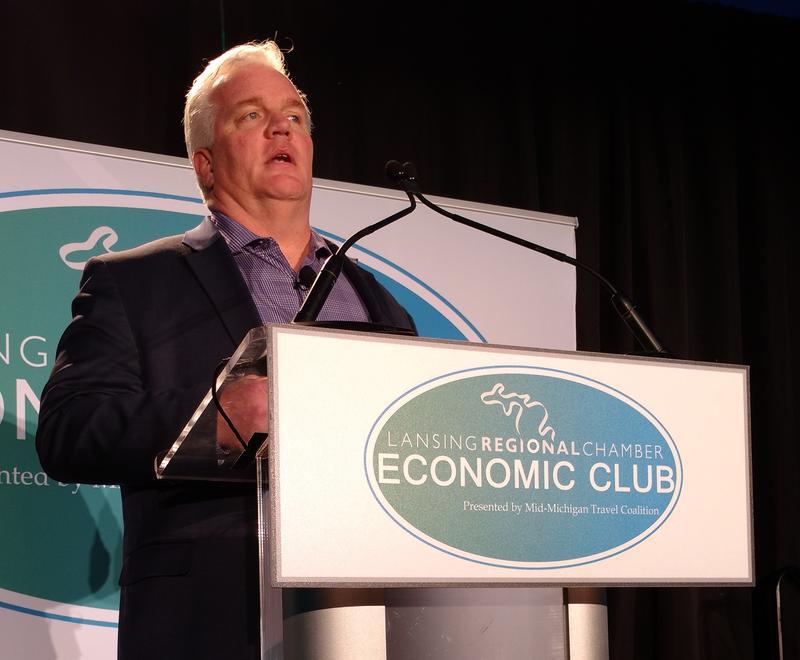 Glenn Stevens speaks to the Lansing Regional Chamber Economic Club on February 15, 2018