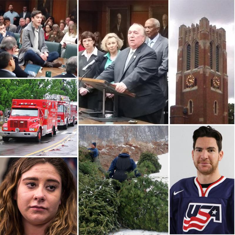 Top row: student protester at. MSU Trustees meeting, interim president John Engler, Beaumont tower; Mid left: fire trucks at training exercise; Bottom row: Alexis Alvarado (State News photo), people carrying Christmas trees, Team USA's Jim Slater