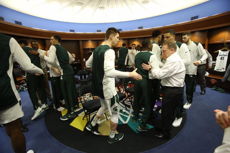 MSU basketball team at meeting before playing at Madison Square Garden.