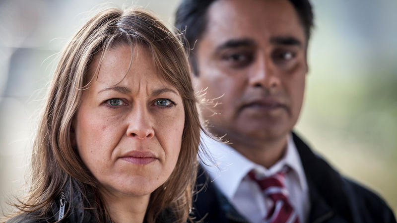 Nicola Walker as DCI Cassie Stuart and Sanjeev Bhaskar as DS Sunny Khan