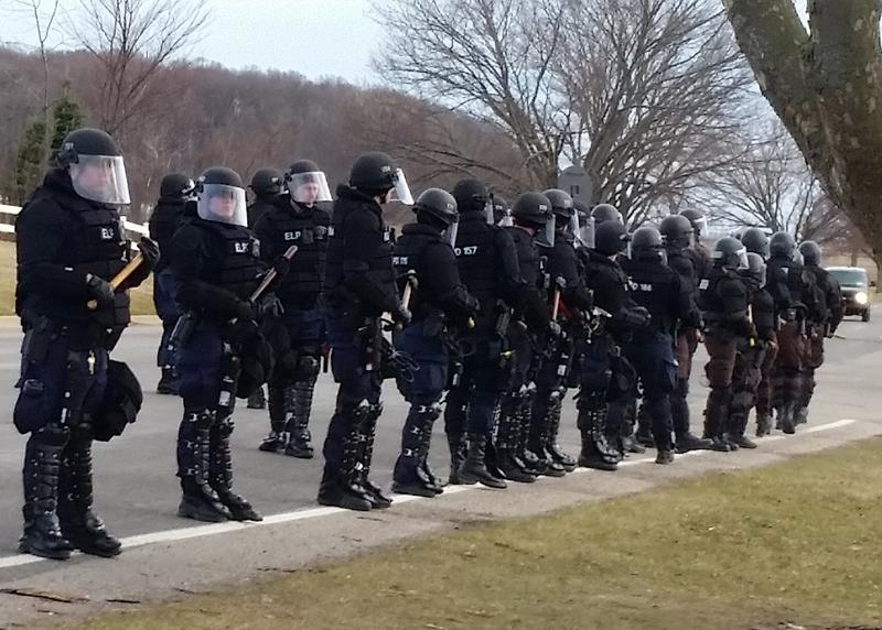 police in a row