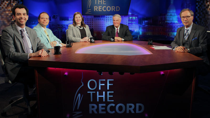 Zachary Gorchow, Emily Lawler, Kyle Melinn and Bill Ballenger appearing on Off the Record with Tim Skubick.
