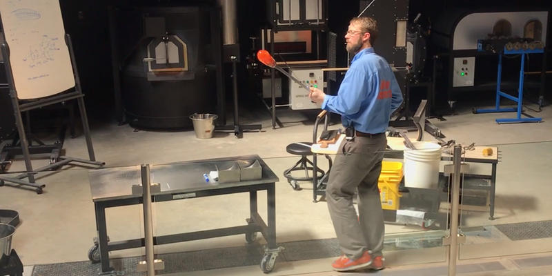 Brent Swanson in FIA's new Hot Shop glass blowing arena