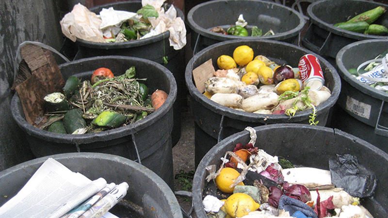 food waste in barrels