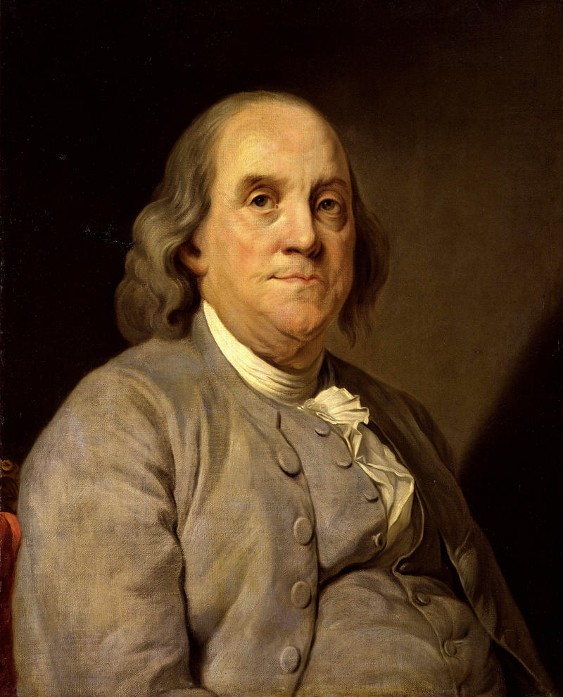 Benjamin Franklin (1706-1790) , North American printer, publisher, writer, scientist, inventor and statesman. Painted at 79 years old by Joseph Duplessis in 1785.