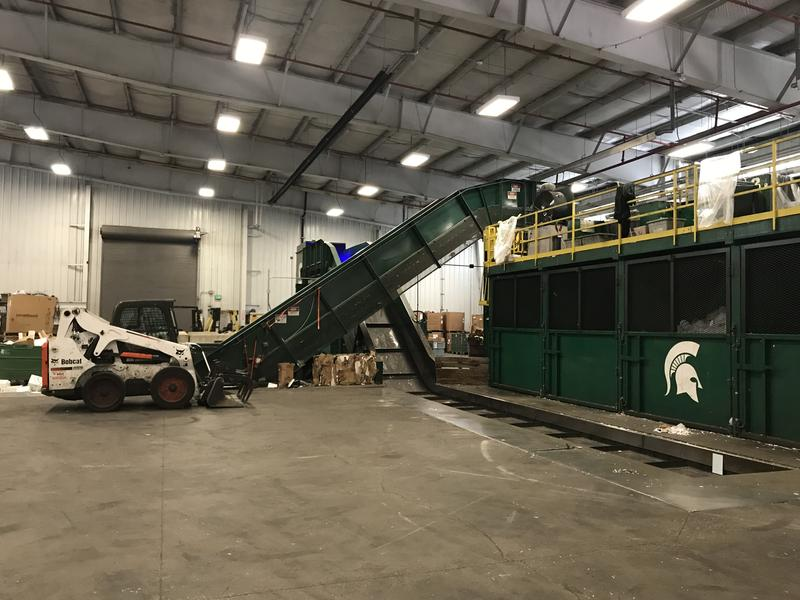 The sorting bunkers and conveyor belts at the recyling center.