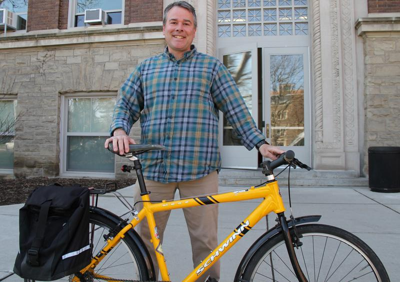 Layne Cameron often rides his bike to work at MSU from Williamston