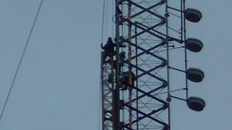 Workers on the tower.