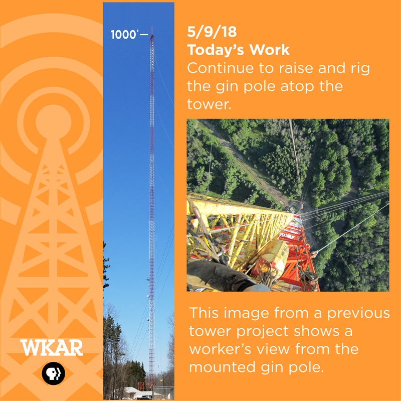 5/9/18 Today's Work: Raise and rig the gin pole atop the tower, continued