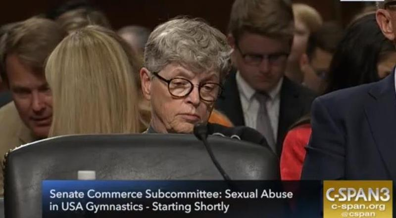 Former MSU President Lou Anna K. Simon. Screen shot from C-SPAN shortly before US Senate hearing on June 5, 2018.
