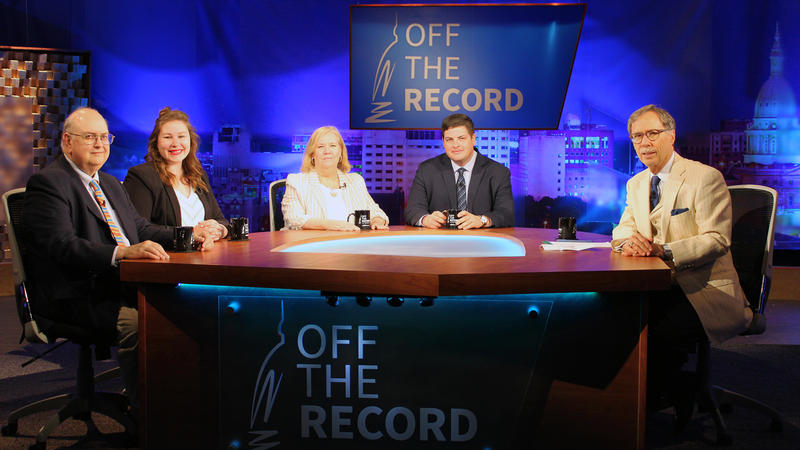 John Lindstrom, Emily Lawler, Kathy Gray and Chad Livengood appearing on Off the Record with Tim Skubick.