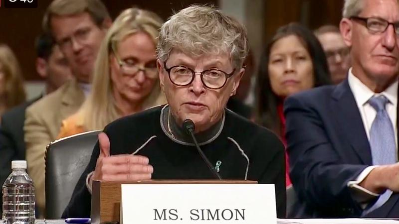 Former Michigan State University president Lou Anna K. Simon appears before a U.S. Senate subcommittee investigating the Larry Nassar sex abuse scandal.
