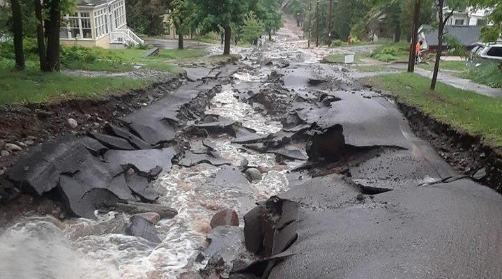 flood damage, Upper Peninsula, Houghton County