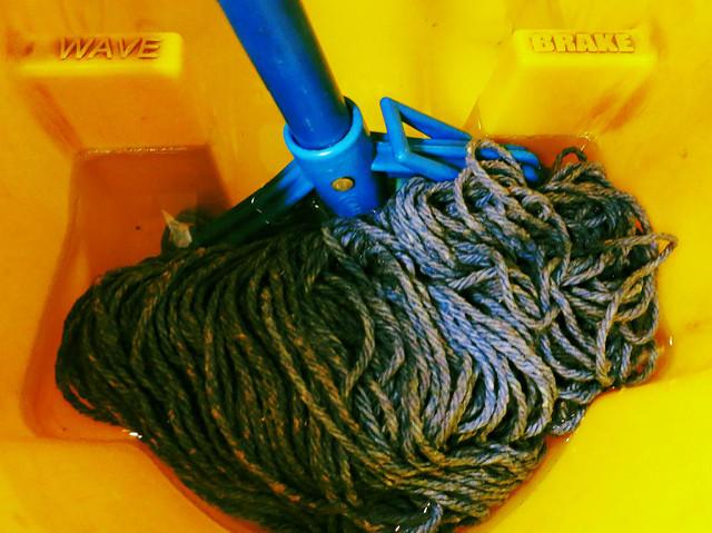 Mop in bucket