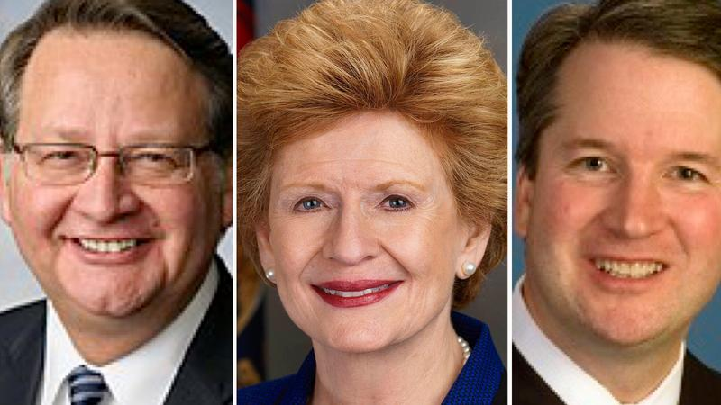 (L to R) Sens. Gary Peters & Debbie Stabenow (D-Michigan) and Supreme Court nominee Brett Kavanaugh