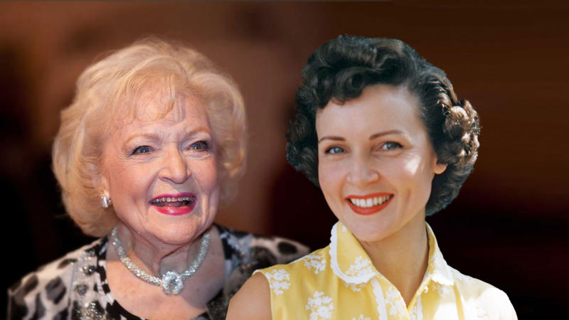 Betty White old and young
