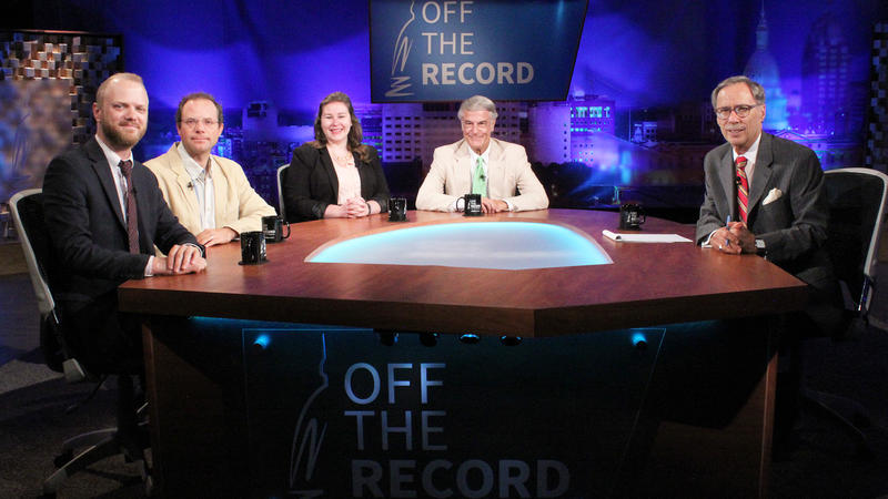 Jonathan Oosting, Kyle Melinn, Emily Lawler and Bill Ballenger appearing on Off the Record with Tim Skubick.