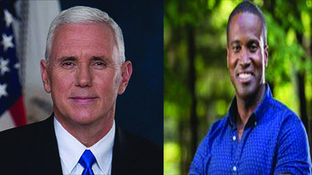Mike Pence and John James