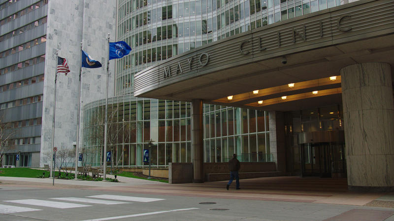 The entrance to the Gonda building at the Mayo Clinic in Rochester, MN.