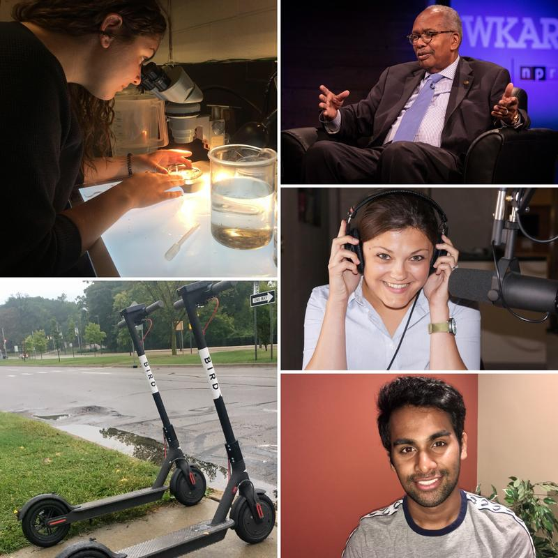 Top left: researcher looking at Great Lakes Water for plastics; Top right: Ernest Green; Center right: Cheyna Roth; Lower left: Bird Scooter; Lower right: MSU Student Wisnu Raja