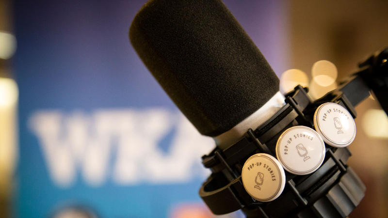Microphone and buttons with WKAR banner