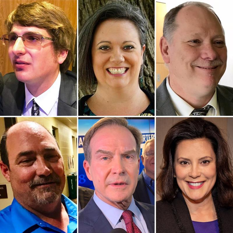 Top row: Keith Butkovich, Jennifer Kurland, Bill Gelineau. Bottom row: Todd Schleiger, Bill Schuette, Gretchen Whitmer