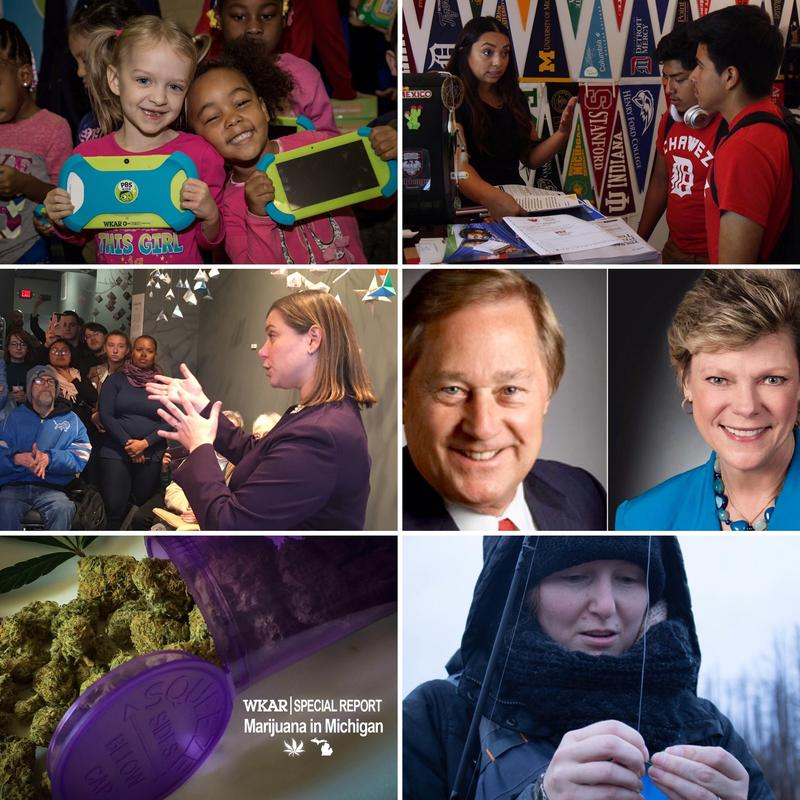 Top row: Lansing students with PBS playpads; Cesar HS Academy students; 2nd row: Rep.-elect Elissa Slotkin, Fmr. Gov. James Blanchard, Journalist Cokie Roberts; Bottom row: woman fishing in U.P.