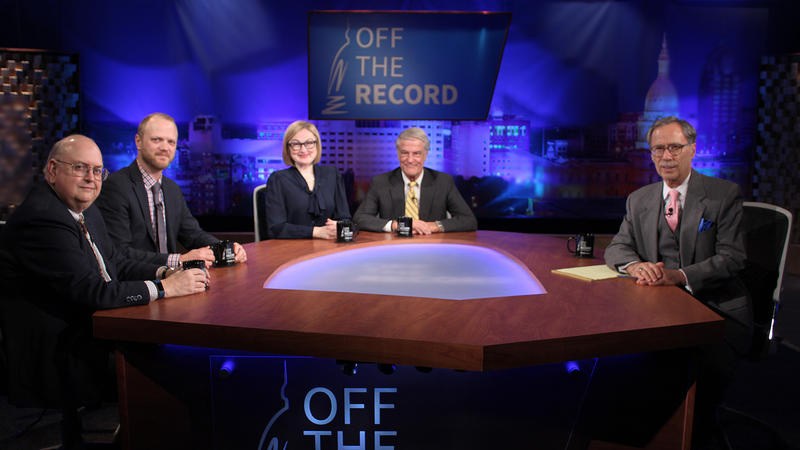 John Lindstrom, Jonathan Oosting, Zoe Clark and Bill Ballenger appearing on Off the Record with Tim Skubick.