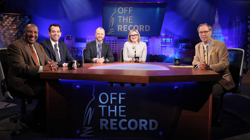Chuck Stokes, Jonathan Oosting, Zack Gorchow and Zoe Clark appearing on Off the Record with Tim Skubick.