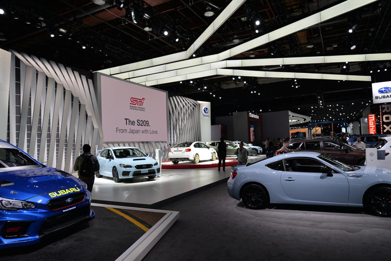 The Subaru showcase had some of the newest STI's and also the S209 (white, pictured center)