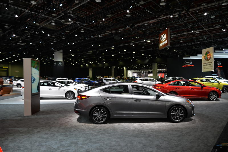 One of the displays at this years NAIAS in the Cobo Center features the new line of Hyundai sedans.