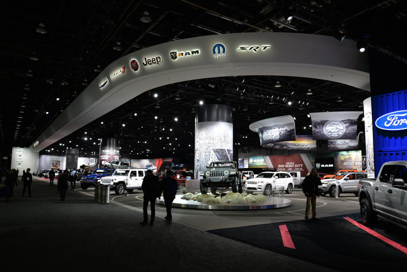One of the many showcases at the Cobo, with the new Jeep Wrangler (bottom center).