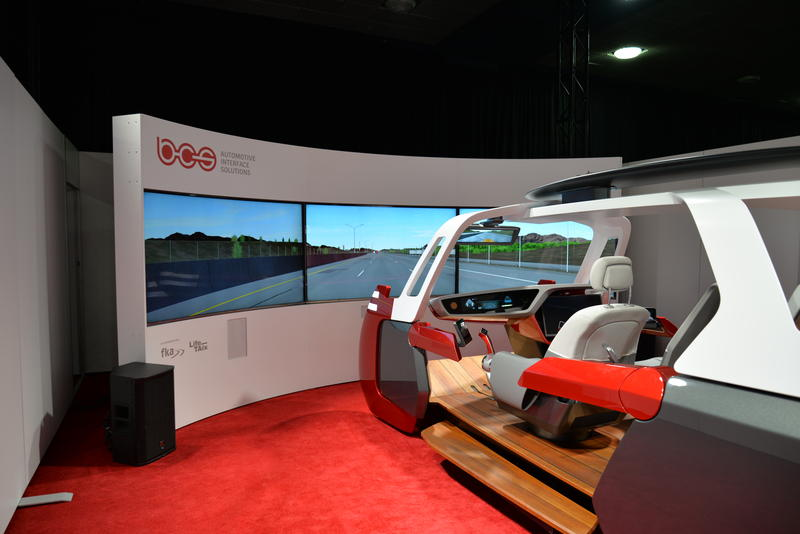 BCS, A startup company showcasing their tech at the auto show has a jet-drive system available for patrons to tryout with a simulator.