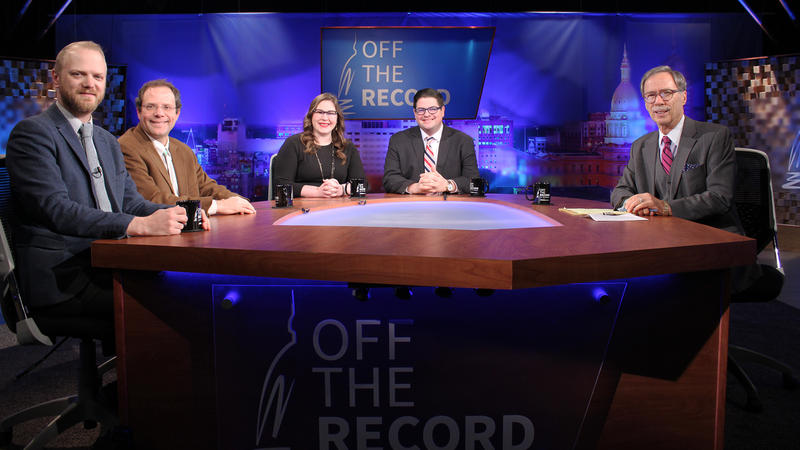 Jonathan Oosting, Kyle Melinn, Emily Lawler and Chad Livengood appearing on Off the Record with Tim Skubick.