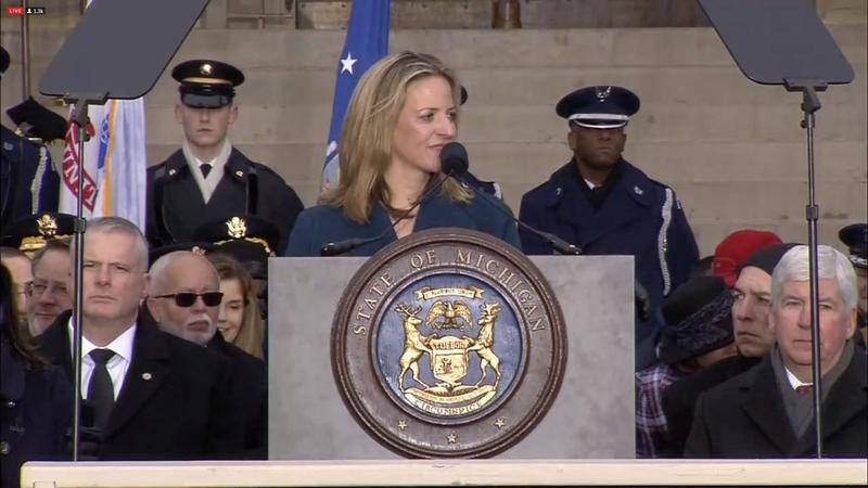 Jocelyn Benson, Michigan's first Democratic secretary of state in more than 20 years gives her inaugural remarks.