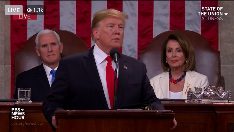 President Donald Trump delivers State of the Union address February 2019.