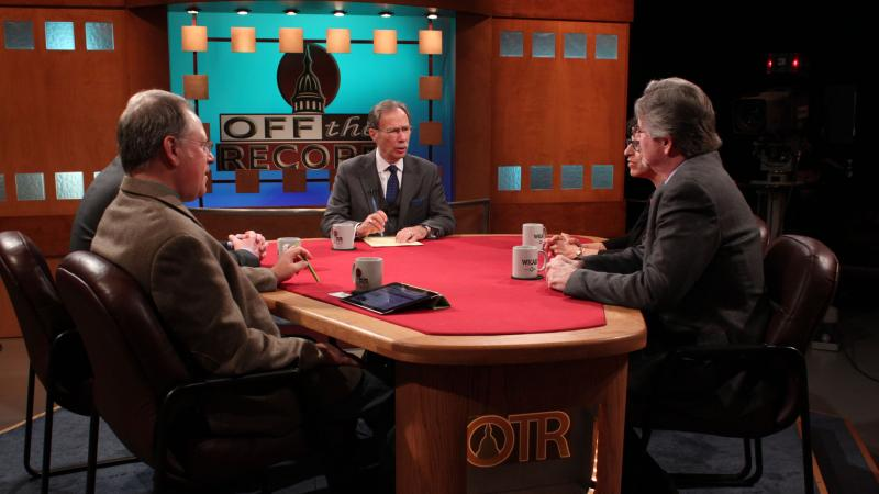Former correspondents Brancato, Waymire, Hornbeck, and Bebow appearing on Off the Record with Tim Skubick.