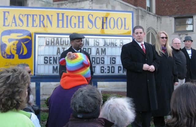 As the protest concluded, Lansing Mayor Virg Bernero thanked those gathered for their peaceful actions.