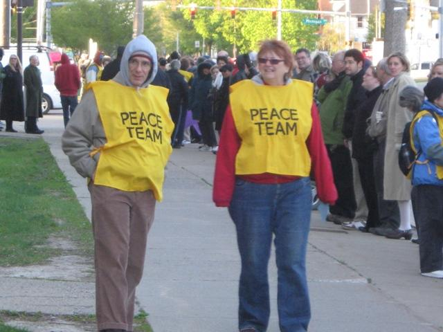Members of the Michigan Peace Team were on hand to monitor the counter protest.