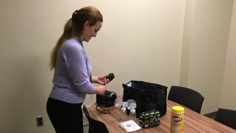 Alison Virag McCann sets up her breast pump