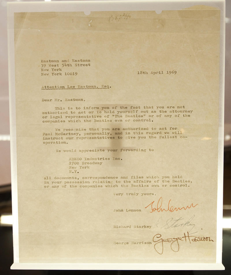 Beatles break up letter