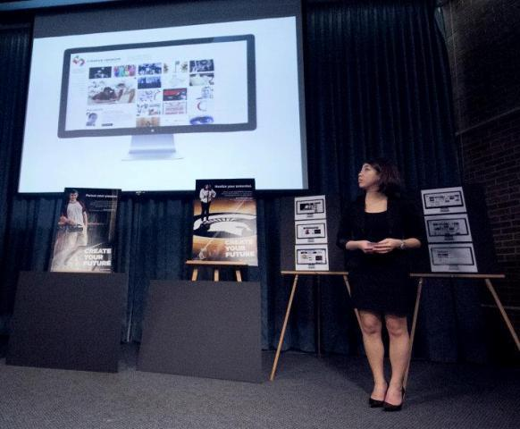 "Meagan Choi helps present her team's ""Media Sandbox"" entry on April 21.  Media Sandbox is a multi-disciplinary communications curriculum developed by the Michigan State University College of Communication Arts and Sciences."