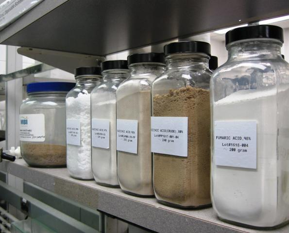 A collection of some of the chemical substances created at the MBI laboratory at Michigan State University.