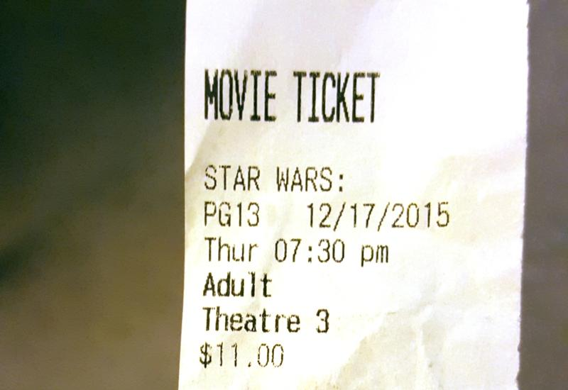 Star Wars movie ticket photo