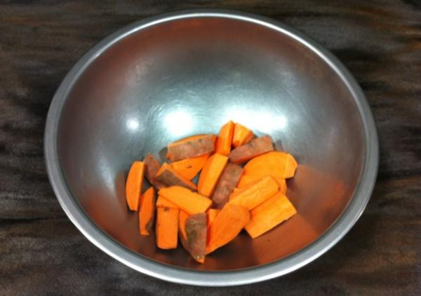 Chef Kwiatkowski begins by cutting sweet potatoes into french fry shapes
