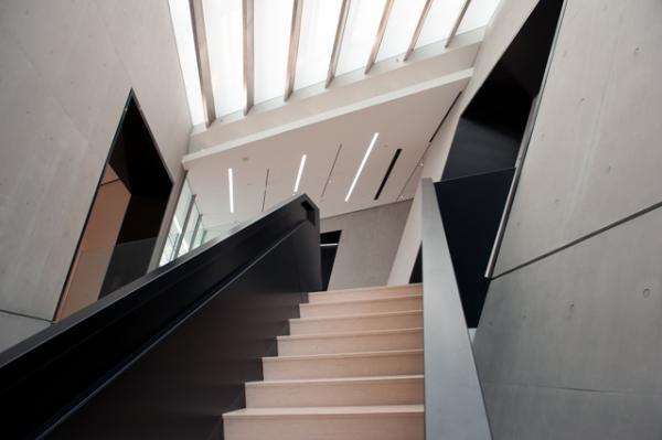 Architect Zaha Hadid designed this staircase inside the Broad Art Museum.