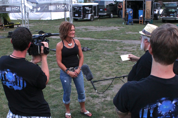Brenda Loomis being interviewed by BackStage Pass producer Mike Mihalus with the BackStage Pass crew.
