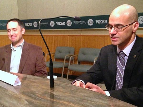 George Lahanas (right), East Lansing's city manager, and Tim Dempsey, the director of Planning, Building and Development, share their outlook for the city in 2013.