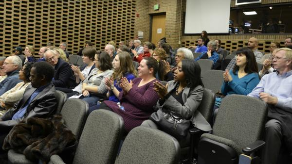An enthusiastic audience attended WKAR's Powerbroker screening and discussion.