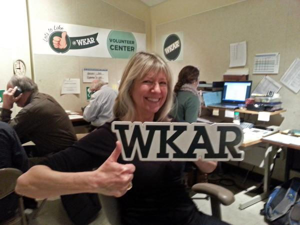 Gretchen Millich in the WKAR studio and volunteer center.